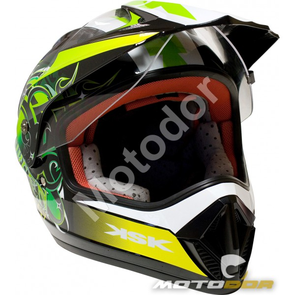 casque moto cross green avec visiere ksk motodor. Black Bedroom Furniture Sets. Home Design Ideas