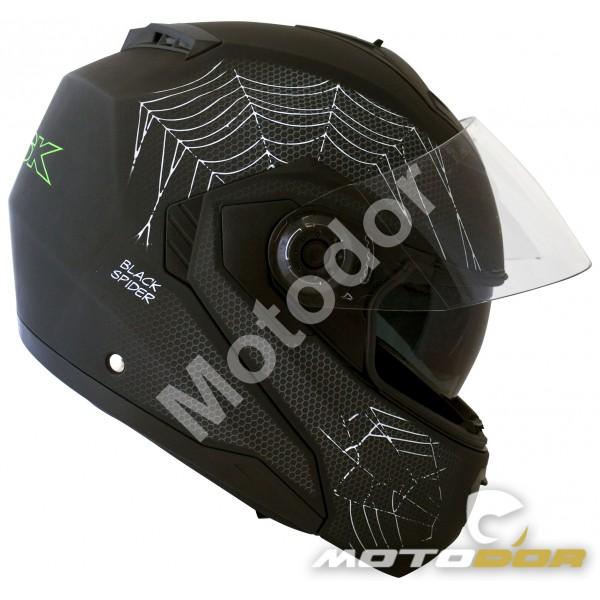 Casque Moto Modulable Black Spider Visiere Solaire Ksk Motodor